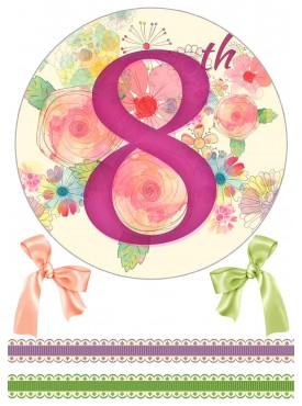 Вафельная или Сахарная картинка на торт для любиой «8 марта» №006