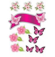 """Сахарные картинки """"Бабочки"""" №006"""