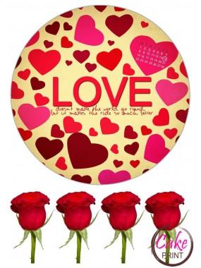Вафельная или Сахарная картинка на торт для любимой «День влюбленных» №006