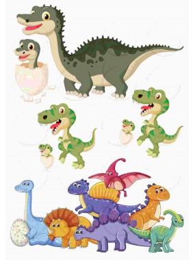 """Съедобные картинки на сахарной бумаге топперы для торта """"Динозаврики"""" №004"""