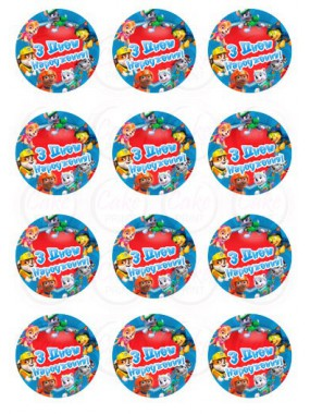 Вафельная и Сахарная картинка на мафин или капкейк «Щенячий патруль» №008 (набор 12 шт.)