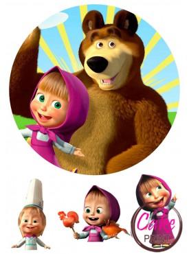 Картинка на торт «Маша и Медведь» №002