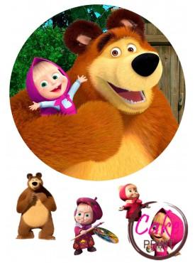 Вафельная картинка «Маша и Медведь» №004