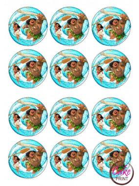 Вафельная и Сахарная картинка на мафин или капкейк «Моана» №007 (набор 12 шт.)