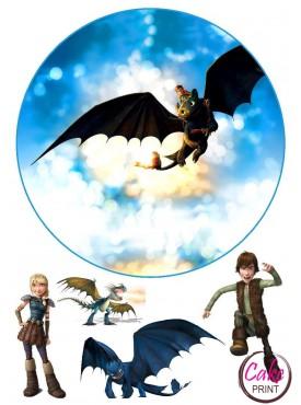 Картинка на торт «Приручить дракона» №002