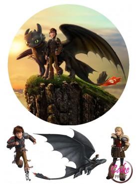 Сахарная картинка «Приручить дракона» №005