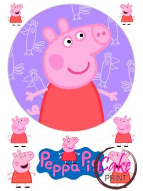 Картинка на торт «Свинка Пеппа» №002