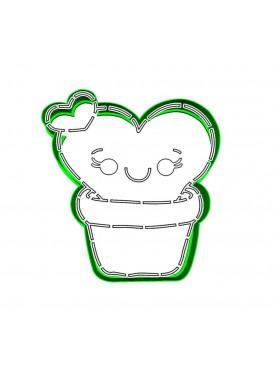 """Набор формочка с трафаретом Print Cake для вырубки печенья - """"Влюбленный Кактусик"""" №015 10 см"""