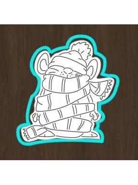 "Набор вырубка для мастики + трафарет Print Cake - ""Мышка в шарфике"" №001 13х10.9 см"