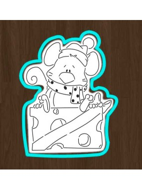 "Набор формочка + трафарет для пряников Print Cake - ""Мышонок на сыре"" №002 13х9.7 см"