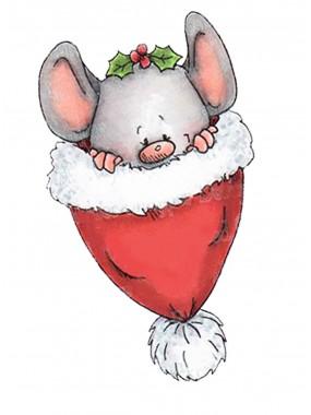 """Набор кондитерская вырубка + трафарет Print Cake - """"Новогодний мышонок в шапочке"""" №004 13х10.8 см"""