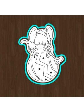 """Набор вырубка с трафаретом для пряника (мастики) Print Cake - """"Новогодний мышонок на елочной игрушке"""" №006 13х10.5 см"""