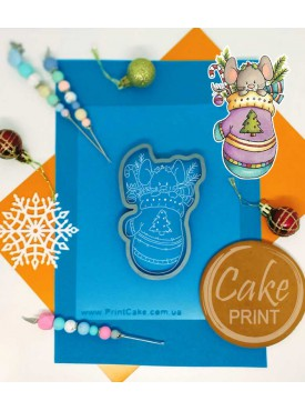 """Набор формочка кондитерская с трафаретом Print Cake - """"Новогодний мышонок в рукавичке"""" №007 13х9.7 см"""