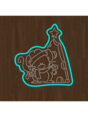 "Набор кондитерская формочка + трафарет Print Cake - ""Мышка и сырная елка"" №005 13х10.5 см"