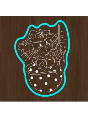 """Набор вырубка кондитерская (формочка с трафаретом) Print Cake - """"Мышонок новогодний на шарике"""" №008 13х9.7 см"""